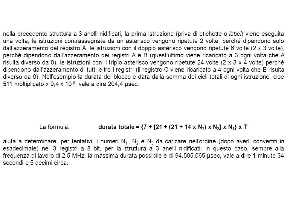 La formula: durata totale = {7 + [21 + (21 + 14 x N3) x N2] x N1} x T